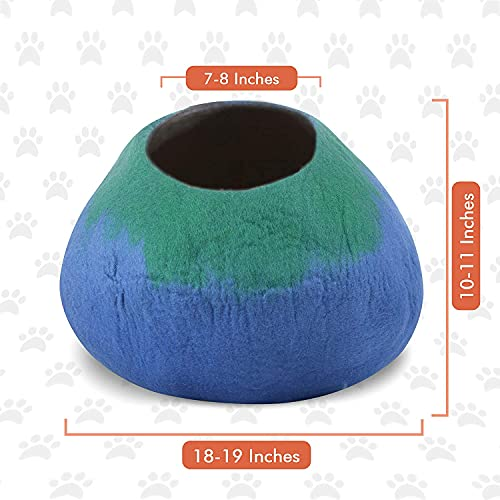 Juccini Wool Cat Cave Bed - Ecofriendly Felt Cat Cave for Cats and Kittens - Felted from 100% Natural Wool - Premium and Personal Space for Your Indoor Cats (Green/Blue)
