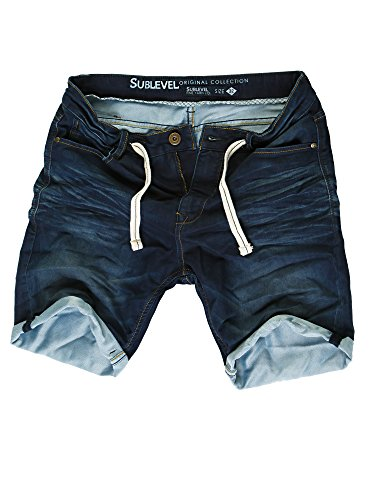 Sublevel Herren Sweat Denim Shorts Kurze Hose Bermuda Denim Sweatpants Vintage Used Look (Dark Blue - H-60688/KD147, W34)