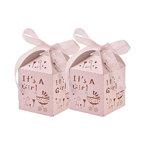 50 Piezas Rosado Caja Bombones Regalo pequeña Bautizo para Niña, Exquisito Caja Caramelos con patrón ' Coche de bebé ' y 'cintas elegantes' - 【 5 * 5 * 8cm 】 Baby Shower Decoración de Escritorio