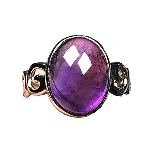Anillos de amatista púrpura natural para mujer hombre, joyería de amatista cristal plata 15 x 12 mm cuentas ovaladas piedras preciosas anillo ajustable AAAAA