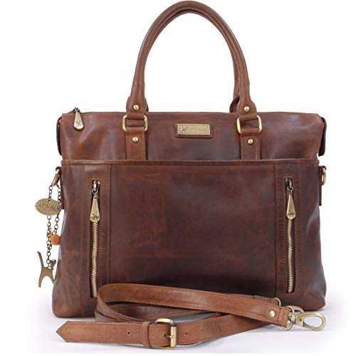 Catwalk Collection Handbags - Vintage Leder - Schultasche/Organizer/Arbeitstasche/Aktentasche für Damen - Laptop/iPad - Handtasche mit Schultergurt -ADELE - Braun