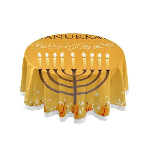 WJJSXKA Round Table Clothing Vector Hanukkah Menorah David Star Modern Table Cloths 60 Inch Lace Stitching Macrame Polyester Decoration