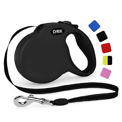 DDOXX Roll-Leine reflektierend, ausziehbar | viele Farben & Größen | für kleine & große Hunde | Gurt-Leine Hundeleine einziehbar Welpe Katze | Hundeleinen Zubehör Hund | XS, 3 m, bis 8 kg, Schwarz