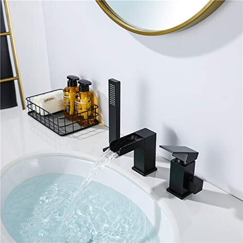 WATHELS Modern 3-Hole Waterfall Bathtub Faucet Bathroom Roman Tub Filler with Handheld Shower Matte Black