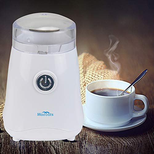 Madoats Portable Coffee Grinder Stainless Steel Blades Coffee Bean Grinder One-Touch Electric Coffee Grinder Grinds Seeds,Spices,Coffee Beans,Nuts,Herbs,Beans (White)