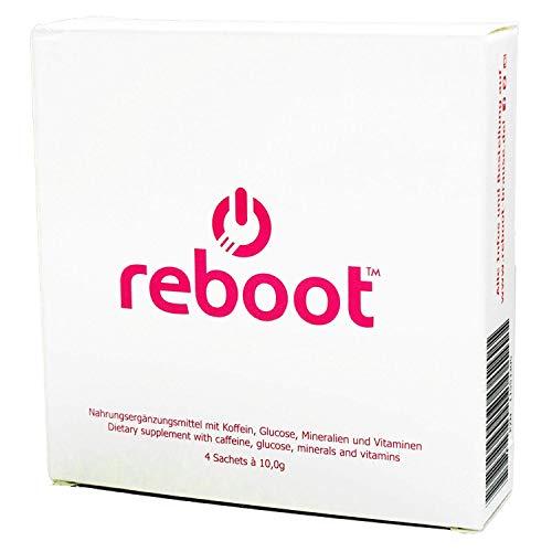 REBOOT® Sport & Energy Brause | Isotonischer Energizer mit Dextrose, Elektrolyten, Vitaminen und Koffein! | Schachtel mit 4 praktischen Beuteln