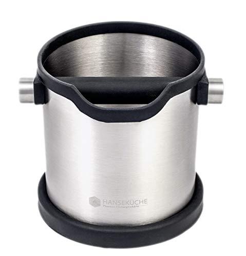 Hanseküche Abschlagbehälter für Siebträgermaschinen – Hochwertiger und langlebiger Edelstahlbehälter zum Abklopfen von Kaffeesatz – Premium Abklopfbehälter mit Silikonverarbeitung.
