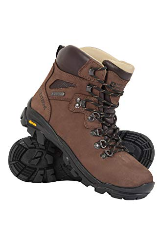 Mountain Warehouse Odyssey Vibram Botas Impermeables para Hombres - con tecnología IsoDry, Transpirables, Cuero Nobuck, Acolchado EVA - Ideal para Campamento, Viajes Marrón 42.5