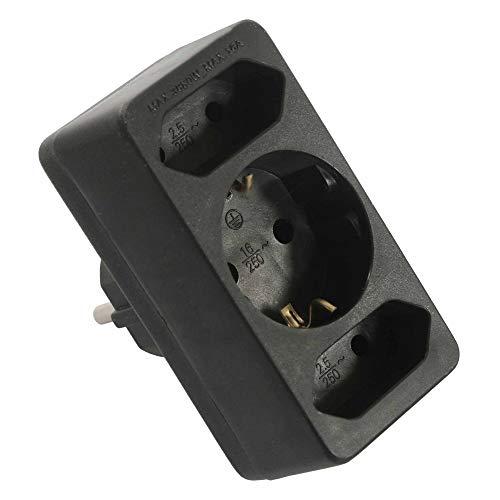 as - Schwabe Euromultistecker 2+1 – Zum Anschluss von 2 Euro- & 1 Schuko-Stecker – Multistecker mit Kinderschutz – Strom-Stecker für Schuko-Steckdosen – IP20 – Schwarz I 49112