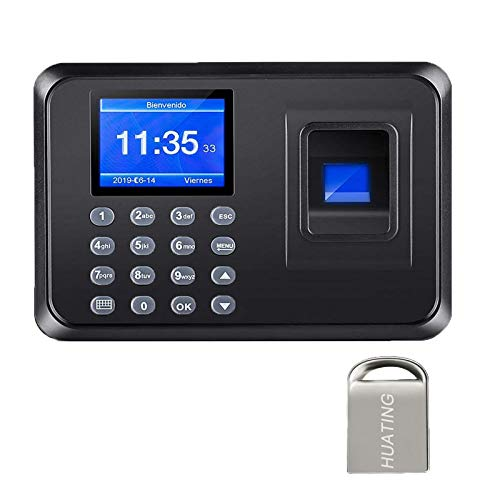 Maquina Asistencia de Fichar Huella Dactilar,Máquina de Asistencia,100.000 Registros, Sistema Española, Biometrico Huella,2.4 Pulgadas,con 8G Disco U (Black)
