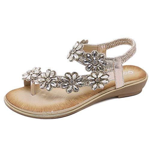 IOAOAI Mujeres Boda Zapatos de Dama de Honor Nupcial Flip Flop Anillo Toe Sandalias Bohemias Zapatos de Cristal con Diamantes de imitación Florales Pisos (Color: Gold, Size: 36 EU)