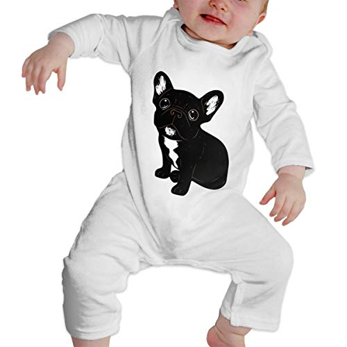 Mri-le1 Baby Girl Long Sleeve Jumpsuit Cute Brindle Frenchie Puppy Infant Long Sleeve Romper Jumpsuit White