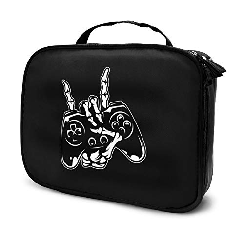 Skeleton Rocking With Game Controller Portable Travel Makeup Case, Large Capacity Organizer Makeup Bag Cosmetic Train Case, Adjustable Dividers Toiletry Bag For Cosmetics Tools Toiletry Jewelry