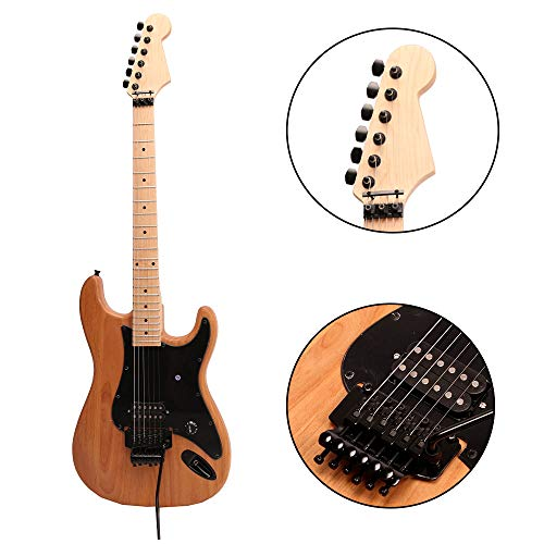 ZUWEI Electric Guitar Kits DIY ALEVHUN - Basswood Body, Humbuckers Pickups, Maple Neck, Floydrose Bridge, Black Hardware & Pickguard 22F with 3.4 Feet Cable Nature Dark