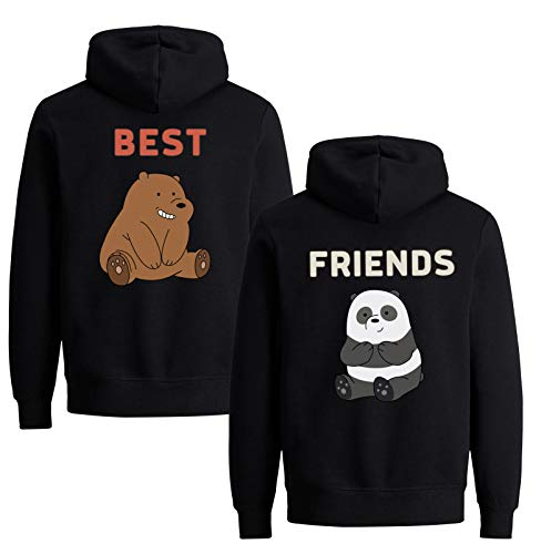 Best Friends Pullover für Zwei Mädchen 1 Stück Bär Beste Freunde Hoodie für 2 Sister Freundin Schwester Freundschafts Pulli BFF Geschenke