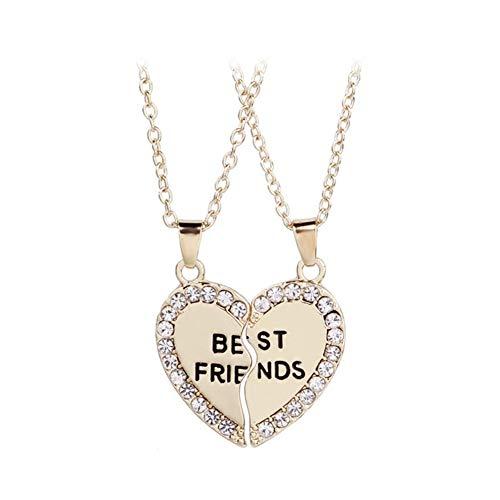 Présent Pendentif Moda plata del oro del metal cristalino del collar pendiente de 2 piezas / Set Broken joyería del corazón Good Friends collar regalo de los niños ( Metal Color : Style 001 1 )