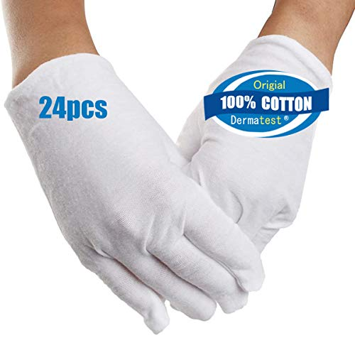 White Cotton Gloves for Eczema Dry Hands 12 Pairs Coin Jewelry Silver Inspection Gloves Soft White Gloves for Man Woman Moisturizing Spa (M) (M)