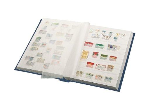 Lindner 1162S Einsteckbuch - Einsteckbücher mit 60 weissen Kartonseiten mit 10 Pergaminstreifen - Einband wattiert - Blau