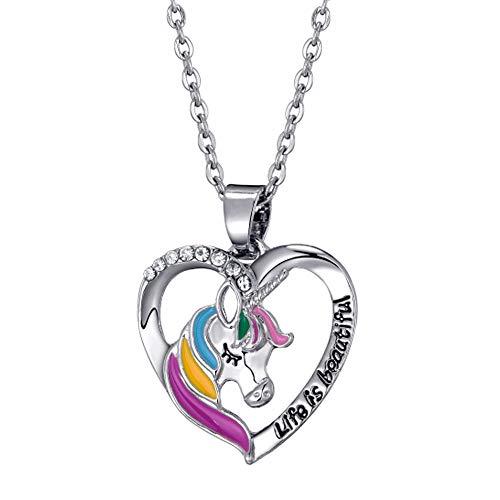 JennyWrenJewels Children's Unicorn Jewellery gifts for girls   UNICORN Heart Necklace   925 Sterling Silver UK Chain & rhodium plated metal charm   Crystal Pendant & Gift Bag (16, UNICORN)