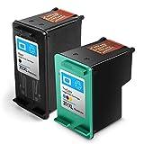Reconstruido HP 350 351 XL HP350/351xl Cartuchos de Tinta de Alto Rendimiento Compatible con HP Photosmart C4480 C4380 C5280 C4280 C4580 C4585 C4500 C4485 C4400(1 Negro, 1 Tricolor)