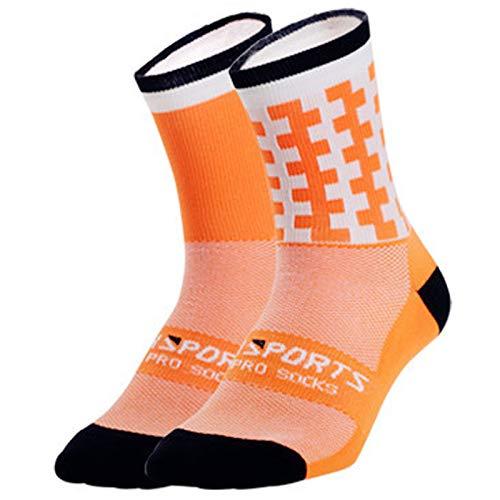 ACHICOO Calzini sportivi professionali traspiranti per ciclismo, Arancione fluo, Taglia unica