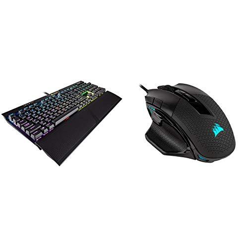 CORSAIR K70 RGB MK.2 Mechanical Gaming Keyboard & Clicky - Cherry MX Blue & Nightsword RGB - Comfort Performance Tunable FPS/MOBA Optical Ergonomic Gaming Mouse, Black