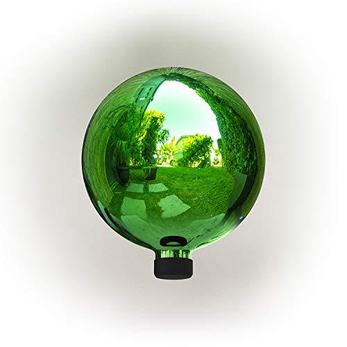 Alpine Corporation GLB292GN Glass Gazing Globe Outdoor Festive Holiday Décor for Garden, Lawn, Yard, 10-Inch Tall, Green