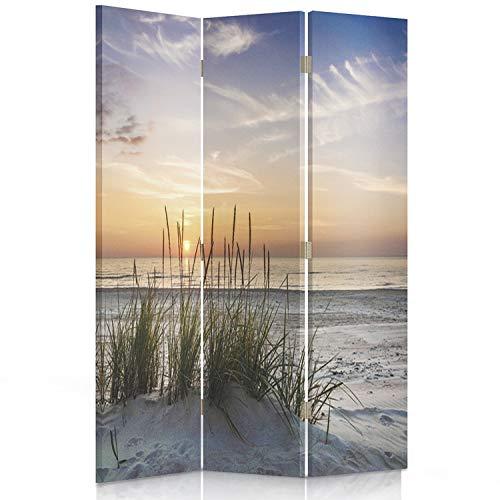 Feeby Frames. Raumteiler, Gedruckten auf Canvas, Leinwand Wandschirme, dekorative Trennwand, Paravent einseitig, 3 teilig (110x150 cm), Landschaft, Grass, Strand, Wasser, Meer, Sand, Himmel