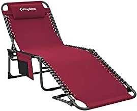 KingCamp Adjustable 4-Position Heavy Duty Folding Chaise Lounge Chair with Pillow Pocket, Portable Great for Outdoor Patio Lawn Beach Pool Sunbathing, Supports 265lbs