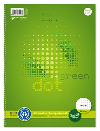 Staufen Staufen Green 608573000 - Cuaderno (DIN A4, línea DOTTED, 80 hojas, 4 orificios, papel reciclado blanco de 70 g/m², 1 unidad)