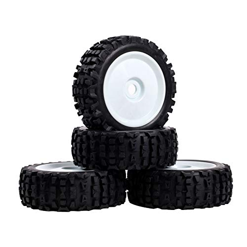 RCStation 1/8 Scale RC Buggy Tires 17mm Hex RC Wheels and Tires PreGlued Rim and Tires Foam Inserts, 17mm Hex 1/8 RC Buggy Tires and Wheels for Python, Redcat, Team, Losi, HPI, HPS, 4PCS-White