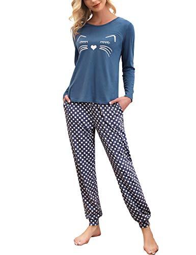 Enjoyoself Damen Langer Schlafanzug Baumwolle Zweiteilig Pyjama Set Kuschelig Hausanzug Rundhals Sleepshirt+gepunkete Schlafhose blau,M
