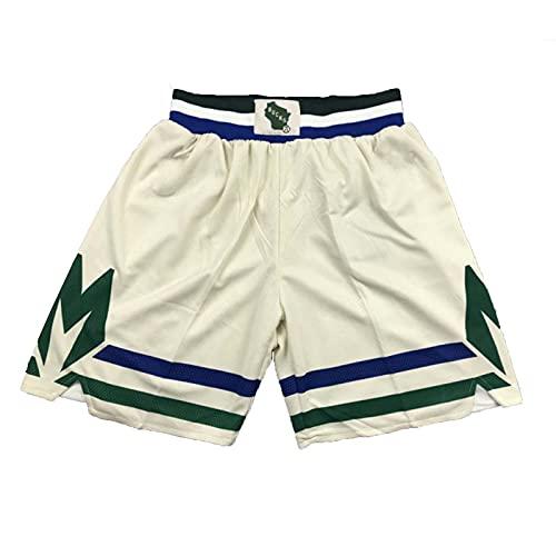 Pantalones Cortos de Baloncesto Hombres Milwaukee Bucks Retro Athletic Fitness Deportivo Transpirable Secado Rápido Shorts