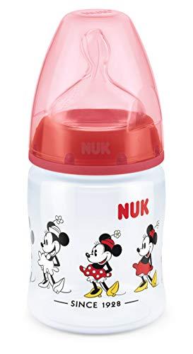 NUK Set Biberon Disney Mickey Mouse First Choice+ con 4 Biberon (2x 300 ml e 2 x 150 ml), 0-6 Mesi, Anticoliche, Disney Mickey & Minnie Mouse, Topolino
