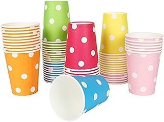 YANGTE Lot de 120 gobelets jetables en carton à pois, respectueux de l'environnement, multicolores, pour les fêtes, bricol...