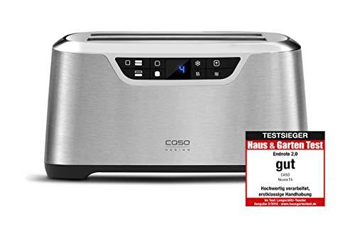 CASO NOVEA T4 Design Toaster für 4 Scheiben, mit Motorlift, 9 Bräunungsstufen, inkl. Brötchenaufsatz