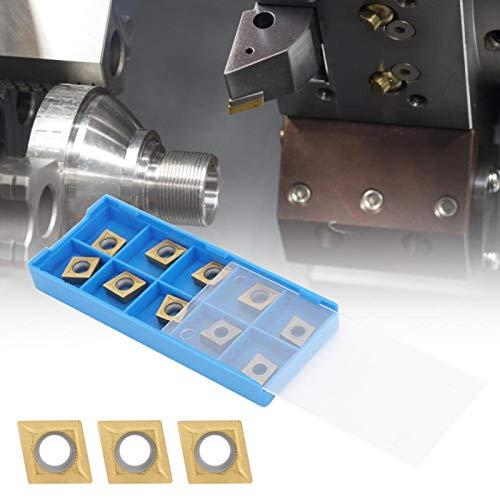 Hoja de carburo sólido para insertar 10 piezas de acero de resorte CNC Insertar titular de repuesto para cortar bordes grandes para hierro fundido para acero (09T302 (R0.2 Seiko))