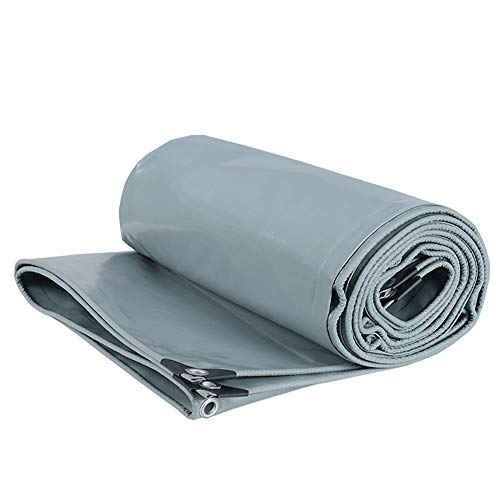 Wang Heavy Duty Tarpaulin Ground tent cover Sunscreen and durable Rain tarpaulin 650 g/m² for Truck, garden, roof, swimming pool 100% waterproof Quality Cover Tarp (Color : Gray, Size : 5x5m)