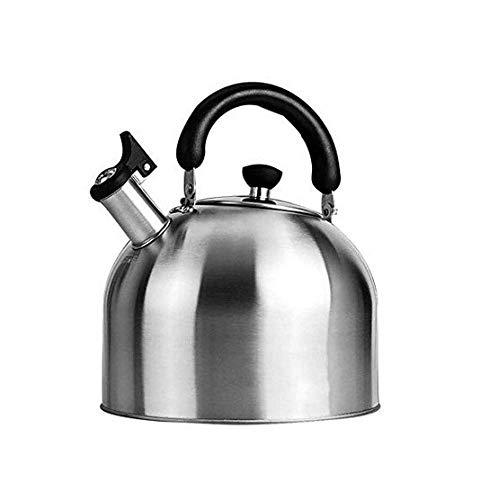 GJJSZ Kettle Edelstahl Whistling Kettle 5L Gas Niture Induktionsherd Gas Universal Kettle,Silber,5L