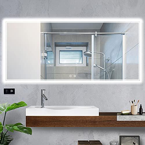 TokeShimi 60 x 28 Inch LED Bathroom Mirror Lighted Vanity Mirror Large Wall Mounted Backlit Mirror Anti-Fog Makeup Mirror with Lights & Dimmable Touch Sensor(Horizontal&Vertical)