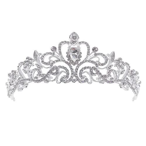 XIGAWAY La novia de cristal corona pelo triple boda ropa joyería para las mujeres