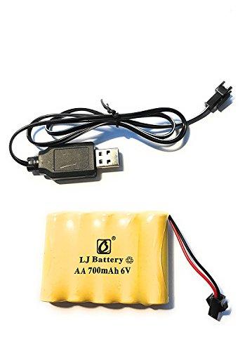 YUNIQUE Espagne® 1 Pieza Batería Recargable 6V 700mAh AA Ni-CD Packs SM 2P Plug para Juguetes Power Bank + Cargador