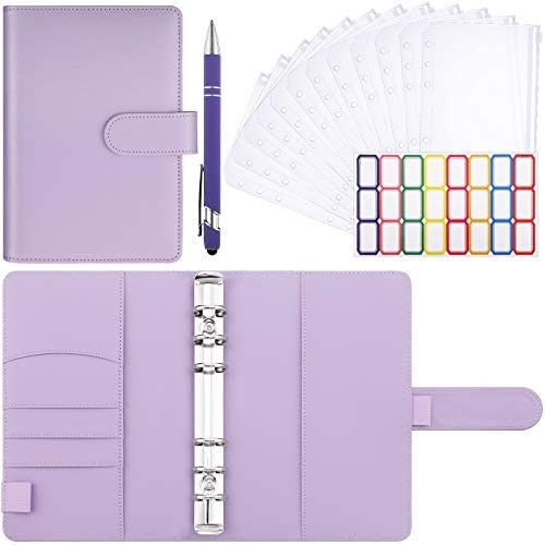 15 Pieces Plastic Binder Envelopes with PU Leather Notebook Binder A6 Loose Leaf 6 Ring and product image