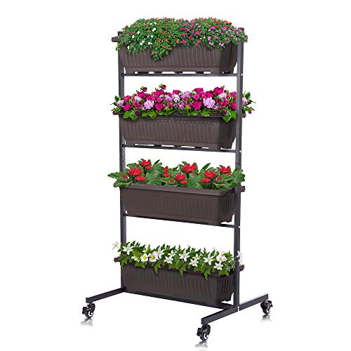 Taleco Gear Vertical Raised Garden Bed Garden Freestanding Elevated Planter with 4 Container Boxes for Patio Balcony Indoor and Outdoor Z