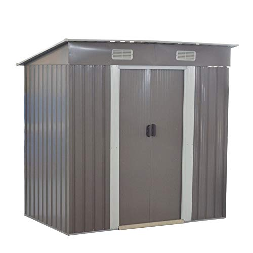 Metal Garden Storage Shed Box Waterproof Building Foundation Sheds with 2 Sliding Doors and Free Base Outdoor Furniture Gray (6 * 4FT: H182 x W194 x D121cm)