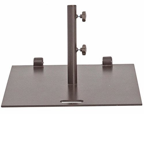 Abba Patio 78 lb. Square Steel Market Patio Umbrella Base Stand with Wheel and 2 Separate Poles for 1-1/2