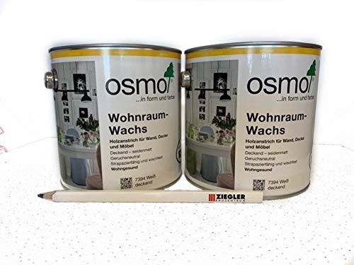 Osmo Set 2 x 2,5 l Wohnraum-Wachs Weiß Deckend 7394 inkl. 1 St. Zimmermannsbleistift