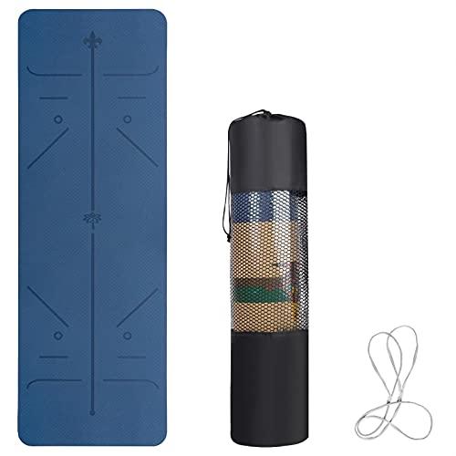 Yogamatte Blau, Trainingsmatte Rutschfest mit Doppelseitige Texturen, Gymnastikmatte mit Tragegurt und Tasche, Joga Matte Umweltfreundliche aus TPE, Fitnessmatte mit Positionslinie, 183 x 61 x 0.6cm