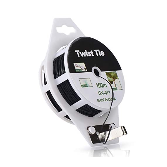 YDSL 328ft (100m) Twist Ties, Plant Ties for Vines Garden Wire with Cutter for Gardening Home Office, Multi-Function… 1 GREAT LENGTH & SUPERIOR MATERIAL】This garden wire is made from super quality green plastic - coating iron, which measures 328ft (100m) per reel, durable and enough to be used for long time. 【PROTECT PLANTS】 Our plastic coated wires with great length(328ft) are perfect for garden twist tie, and other plants to trellis, stakes, or any other supports. 【BEST ASSISTANT FOR YOUR HOME & OFFICE】 The plant ties function, our tie twist can be your great companion at home or the office, help you organize well the headphones lines, computer lines , mobile phone cables and others.