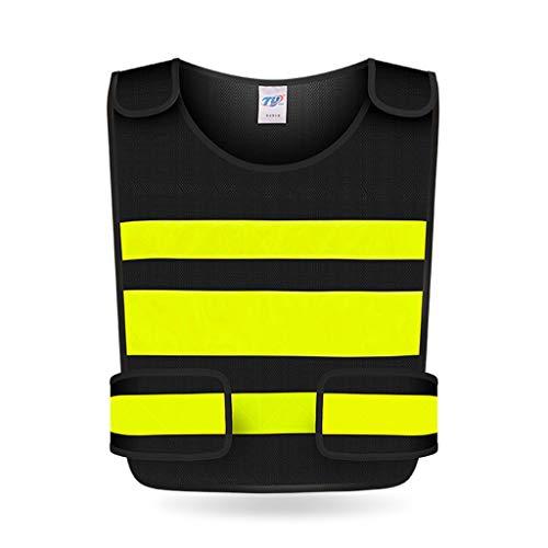Warnwesten Hohe Sichtbarkeit Weste Engineering Site Führung Arbeitskleidung Reflektierende Sicherheitsweste Reisen bei Nacht Hochbau Sicherheit Unisex (Color : Black)